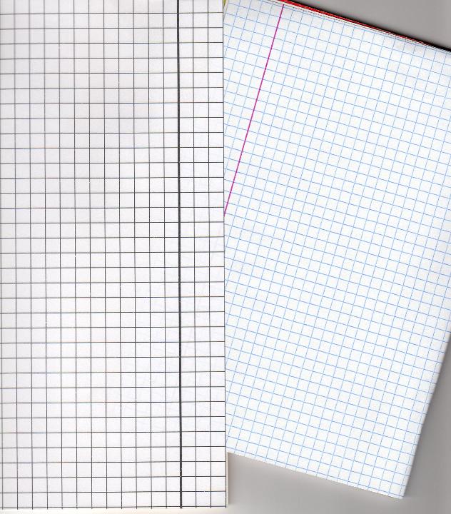 Porównanie zeszytu w kratkę ze standardowym